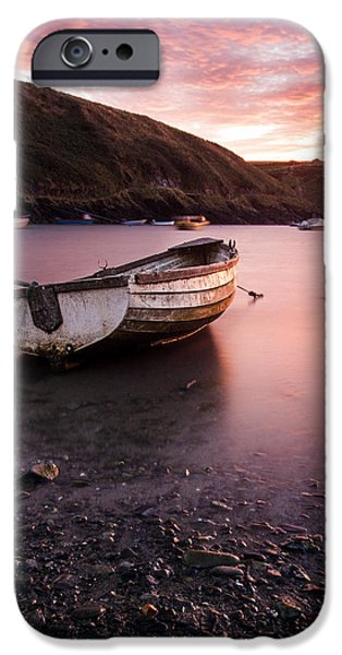 Beach Landscape iPhone Cases - Boat at Sunset iPhone Case by Chris Dale