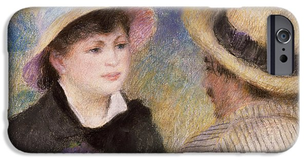 Impressionism Pastels iPhone Cases - Boating Couple iPhone Case by Auguste Renoir