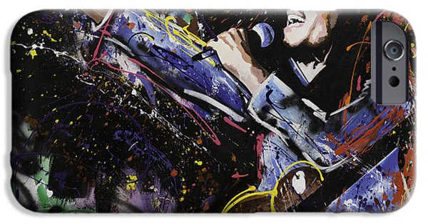 Red Abstract iPhone Cases - Bob Marley iPhone Case by Richard Day
