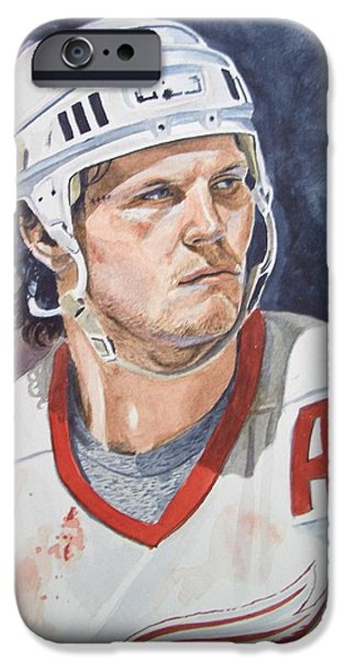 Hockey Paintings iPhone Cases - Bob Probert iPhone Case by Donald Filiault