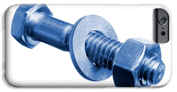 Work Tool iPhone Cases - Bolt with Nut and Washer Blue Toned iPhone Case by Donald  Erickson
