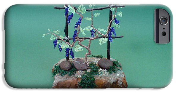 Food And Beverage Sculptures iPhone Cases - Bonsai Wire Tree Sculpture Beaded Vineyard      iPhone Case by Bujas Sinisa