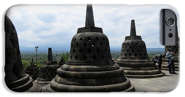 Buddhist iPhone Cases - Borobudur Temple 4 iPhone Case by Cindy Kellogg