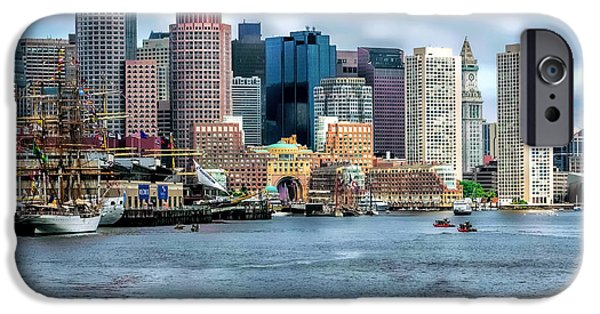 Tall Ship iPhone Cases - Boston Harbor iPhone Case by Larry  Richardson