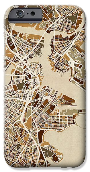 City. Boston iPhone Cases - Boston Massachusetts Street Map iPhone Case by Michael Tompsett