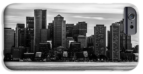 City. Boston iPhone Cases - Boston Skyline Black and White Panoramic Picture iPhone Case by Paul Velgos