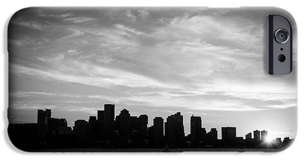 Boston Harbor iPhone Cases - Boston Skyline Black and White Photo iPhone Case by Paul Velgos