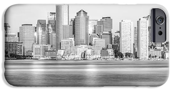 City. Boston iPhone Cases - Boston Skyline Black and White Picture iPhone Case by Paul Velgos