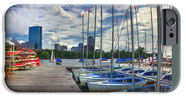 Charles River iPhone Cases - Boston Skyline from the Charles River iPhone Case by Joann Vitali