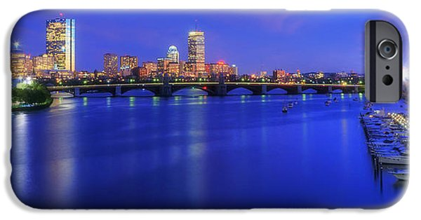 Fenway Park iPhone Cases - Boston Skyline Panoramic at Night iPhone Case by Joann Vitali