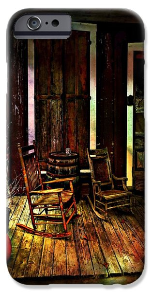 Fall Scenes iPhone Cases - The Country Store Porch iPhone Case by Julie Dant