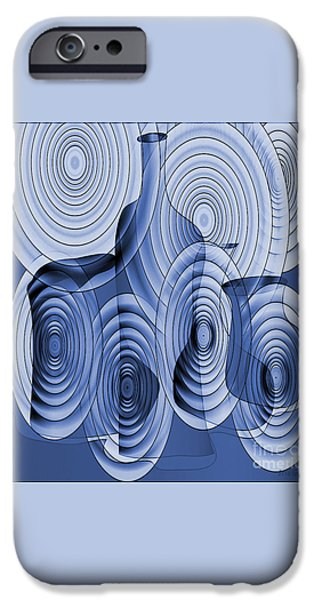 Blue Abstracts iPhone Cases - Bottles 13 iPhone Case by Iris Gelbart