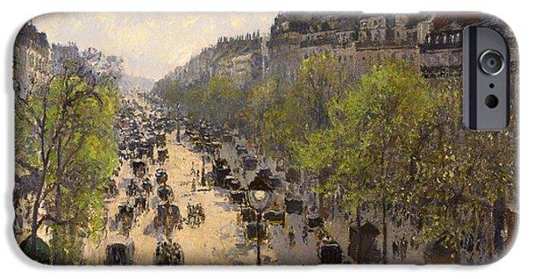 Pissarro iPhone Cases - Boulevard Montmartre - Spring iPhone Case by Camille Pissarro