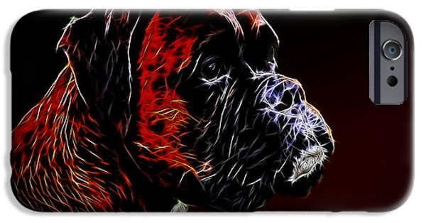 Boxer Digital iPhone Cases - Boxer Dog iPhone Case by Alexey Bazhan