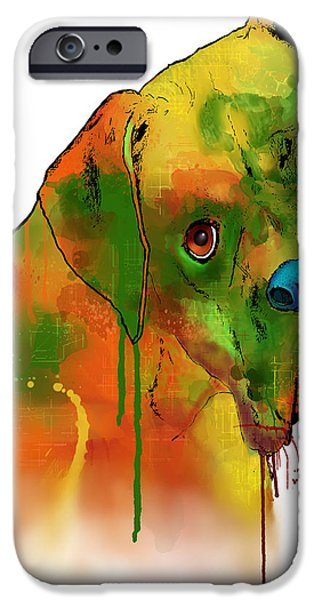 Boxer Digital Art iPhone Cases - Boxer iPhone Case by Marlene Watson