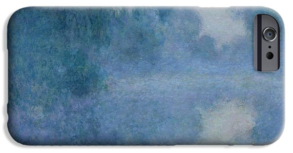 Fog iPhone Cases - Branch of the Seine near Giverny iPhone Case by Claude Monet