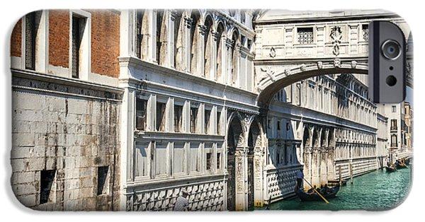 Building iPhone Cases - Bridge of sighs and gondolas Venezia iPhone Case by Sandra Rugina