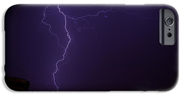 Electrical iPhone Cases - Bright Blue Majestic Lightning Bolt iPhone Case by John Williams