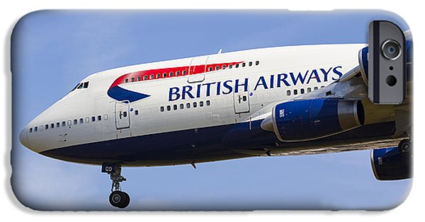 Boeing 747 iPhone Cases - British Airways Boeing 747 iPhone Case by David Pyatt