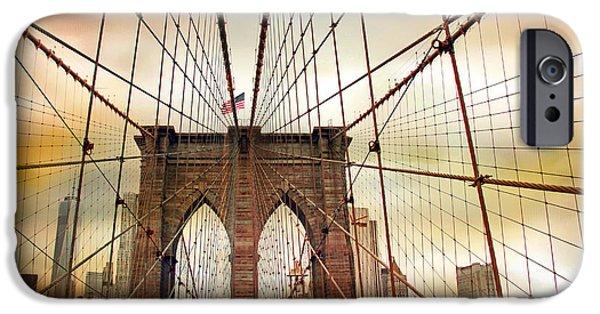 Brooklyn Bridge Digital iPhone Cases - Brooklyn Bridge Approach iPhone Case by Jessica Jenney