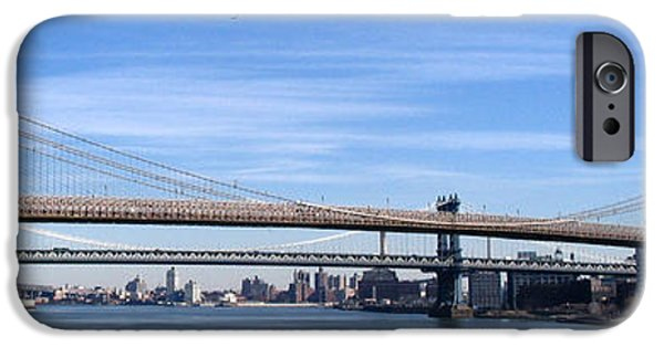 Brooklyn Bridge Mixed Media iPhone Cases - Brooklyn Bridge iPhone Case by Frederick Holiday