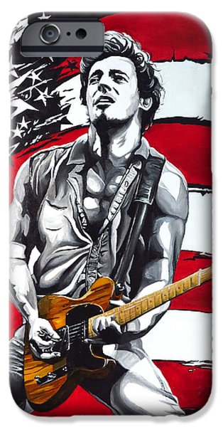 Born In The Usa Paintings iPhone Cases - Bruce Springsteen iPhone Case by Francesca Agostini
