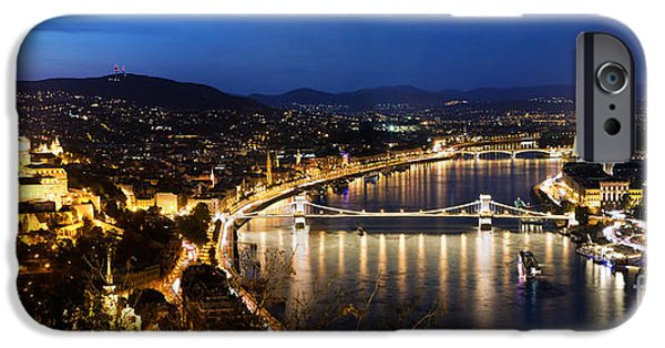Famous Bridge iPhone Cases - Budapest. View from Gellert Hill iPhone Case by Michal Bednarek