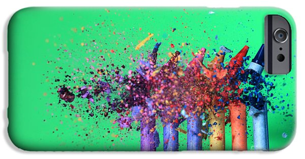 High Speed Photography iPhone Cases - Bullet Hitting Crayons iPhone Case by Ted Kinsman