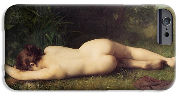 Tear Paintings iPhone Cases - Byblis Turning into a Spring iPhone Case by Jean-Jacques Henner