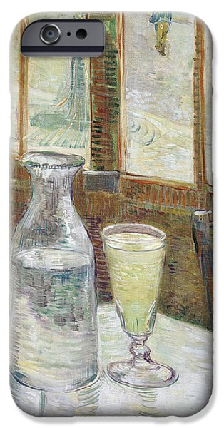 Vincent iPhone Cases - Cafe Table with Absinthe iPhone Case by Vincent van Gogh