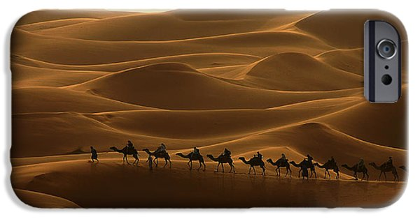 Northern Africa iPhone Cases - Camel Caravan in the Erg Chebbi Southern Morocco iPhone Case by Ralph A  Ledergerber-Photography