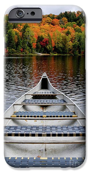 Canoe iPhone Cases - Canoe on a Lake iPhone Case by Oleksiy Maksymenko