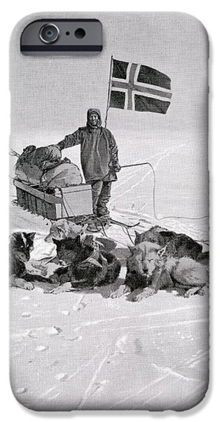 Husky Drawings iPhone Cases - Captain Roald Engelbregt Gravning iPhone Case by Ken Welsh