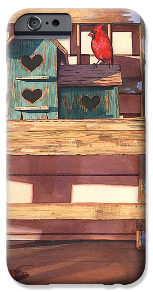 Birdhouse iPhone Cases - 1 Cardinal 2 Cherries iPhone Case by Marguerite Chadwick-Juner
