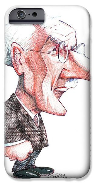 Collective Unconscious Photographs iPhone Cases - Carl Jung, Caricature iPhone Case by Gary Brown