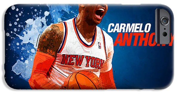 Bob Ross Digital iPhone Cases - Carmelo Anthony iPhone Case by Semih Yurdabak