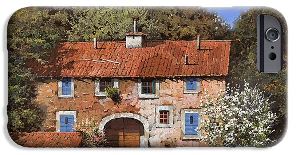 Roof iPhone Cases - Casolare A Primavera iPhone Case by Guido Borelli