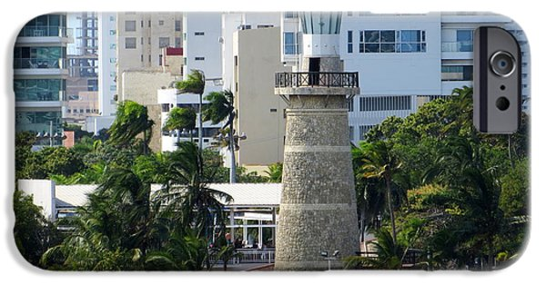 Historic Site iPhone Cases - Castillo Grande Light, Cartagena iPhone Case by Cindy Kellogg