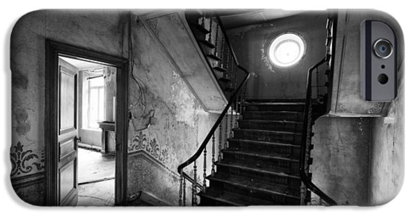 Haunted House iPhone Cases - Castle stairs - abandoned building iPhone Case by Dirk Ercken