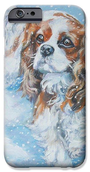 L.a.shepard iPhone Cases - Cavalier King Charles Spaniel blenheim in snow iPhone Case by Lee Ann Shepard