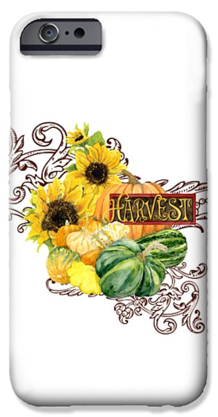 Farm Stand iPhone Cases - Celebrate Abundance - Harvest Fall Pumpkins Squash n Sunflowers iPhone Case by Audrey Jeanne Roberts