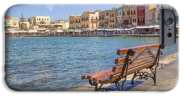Park Benches iPhone Cases - Chania - Crete iPhone Case by Joana Kruse