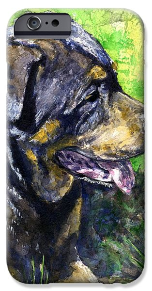 Rottweiler iPhone Cases - Chaos iPhone Case by John D Benson