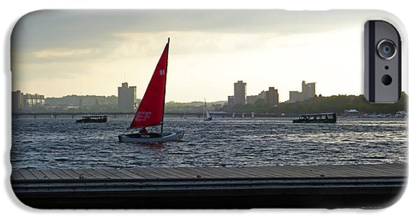 Charles River Digital Art iPhone Cases - Charles River Sailboat iPhone Case by Toby McGuire