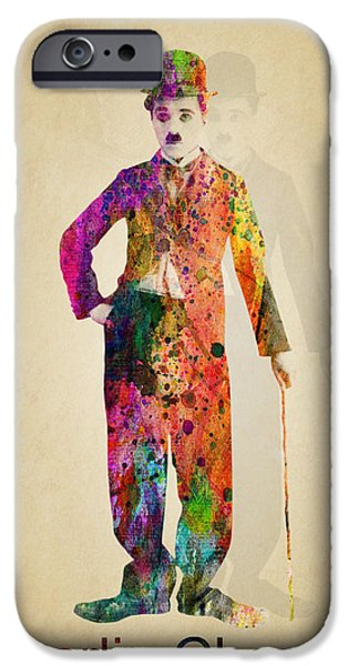 Chaplin iPhone Cases - Charlie Chaplin iPhone Case by Mark Ashkenazi