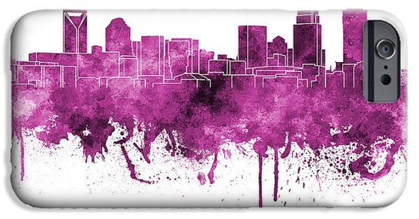 Charlotte Paintings iPhone Cases - Charlotte skyline in pink watercolor on white background iPhone Case by Pablo Romero