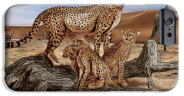 African Animal Drawings iPhone Cases - Cheetah Family Tree iPhone Case by Peter Piatt