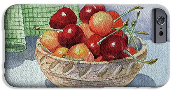 Berry iPhone Cases - Cherries iPhone Case by Irina Sztukowski