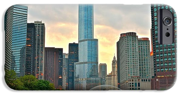 Sears Tower iPhone Cases - Chicago at Dusk iPhone Case by Frozen in Time Fine Art Photography