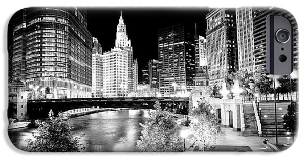 Wrigley iPhone Cases - Chicago River Buildings at Night iPhone Case by Paul Velgos